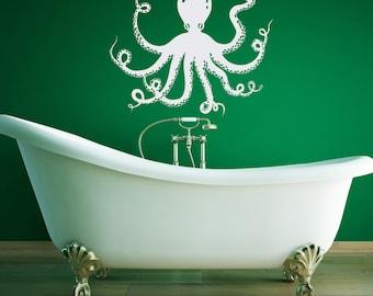 Sea Animals Wall Decal- Octopus Wall Decal- Nautical Wall Decals- Wall Decal Bathroom- Octopus Tentacles Wall Decals Sea Ocean Decor 043