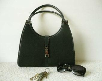 Genuine Vintage Gucci Black Canvas And Leather Jackie Shoulder Bag