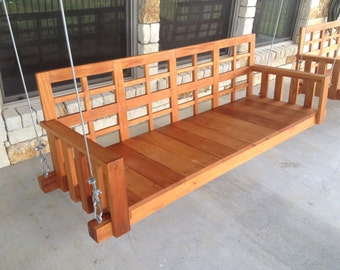 Porch Swing - Outdoor swing - Patio Furniture - Swing - Southern porch swing - Handmade with Mahogany wood