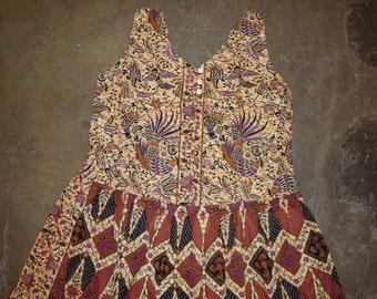Vtg Handmade Cotton Batik Rooster Floral Sleeveless Sun Dress Size Medium to Large