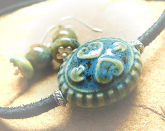 Necklace and Earrings -  Simple Boho Organic Blue and Green Ceramic and Sterling Silver on Black Suede Cord