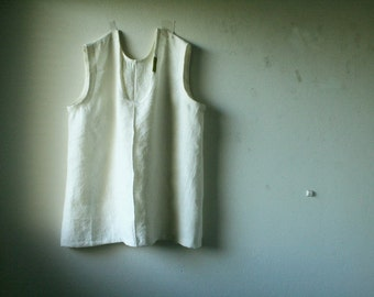 READY TO SHIP  / white linen tunic / scoop / Plus Size womens linen clothing / eco / organic / made in australia / pamelatang