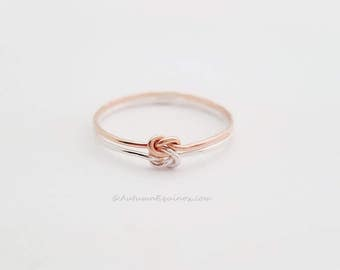 Double Love Knot Ring Sterling Silver Rose Gold Filled