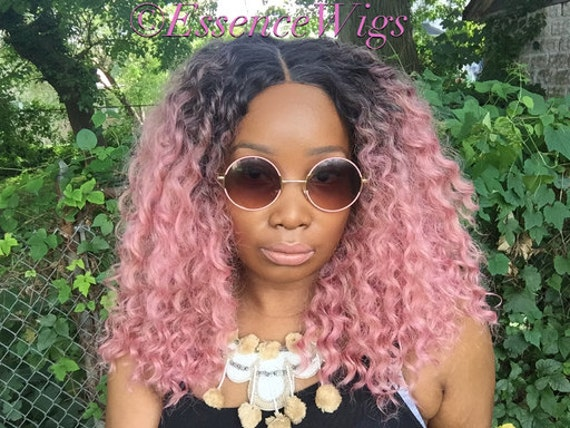 "Essence Wigs ""Ain't Nothing but A Pink Thang"" Lacefront Wig Natural Hair Kinky Curly Beach Waves Wig Pink Ombre Lace Wig"