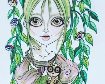 Greenley Horror Fantasy Lowbrow Art Print by Leslie Mehl 8.5 X 11