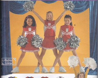 Simplicity 4040 Girls Cheerleader Outfit Skirt Top Panties Halloween Costume Sewing Pattern Sizes 8-12 Out of Print UNCUT