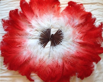 Custom Ombre-Dyed Ostrich Feather Fans - Bamboo
