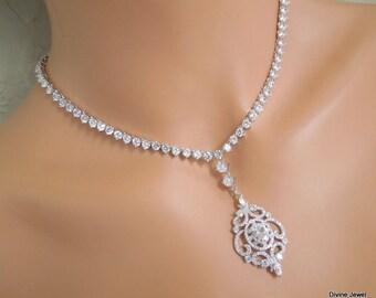 Bridal necklace Wedding crystal necklace Rhinestone necklace Statement Bridal Necklace Cubic ziconia necklace Wedding crystal Necklace JILL