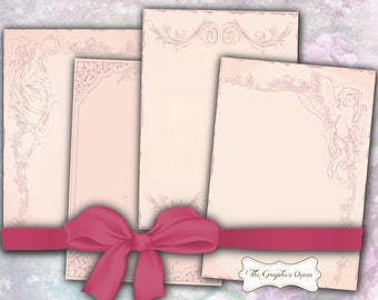 Shabby Chic Vintage Pink Digital Paper Art Nouveau Digital Background Digital Scrapbooking Supplies Instant Digital Download