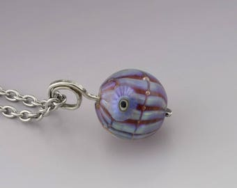 Handmade Jewelry Glass Pendant Sterling Silver Necklace Blue Luster Pendant Lampwork Bead Handmade Glass Heather Behrendt SRA 5161