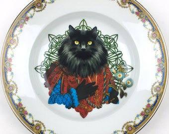 Norwegian Lord  - Norwegian forest cat - Vintage Porcelain Plate - #0448