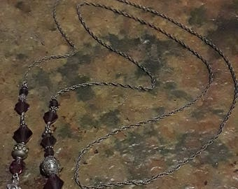 """Sterling silver and purple glass bead bookmark 36"""" long"""