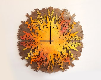 Botanica Clock, Wall Clocks, Large Wall Clock, Home Decor, Unique Gift