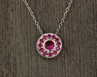 Ruby - Sterling Silver Circle Pendant - Hand Engraved - Tiny - July Birthstone