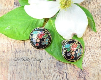 Vintage Cloisonné Butterfly Earrings ~ Colorful Enamel Clip ons