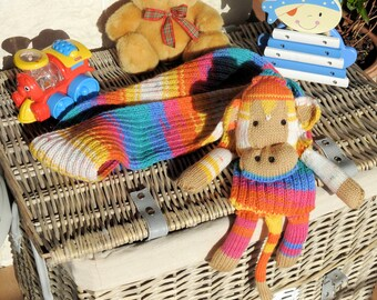 Handmade Children's Multicoloued Monkey Scarf - Free Shipping
