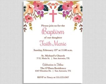Pink Baby Girl Baptism Invitation, Christening Invite, Boho, Watercolor Floral, DIY PRINTABLE