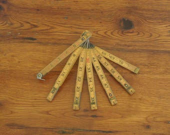 Vintage Wood and Brass Folding Ruler 72""