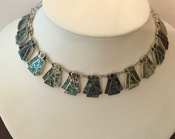 Vintage Sterling Silver TAXCO Abalone Shell Necklace..(Circa 1960...STATEMENT PIECE!
