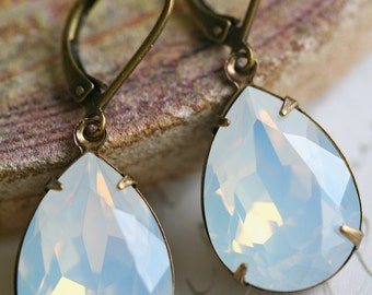 White Opal Swarovski Crystal Earrings, Moonstone, Tear Drop, Estate Style, White Opal Earrings
