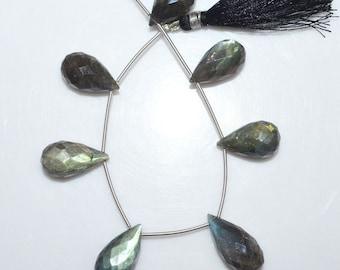 "Natural Labradorite Tear Drop Briolette - Labradorite Faceted Beads , Labradorite Briolette , 11x19 - 11.5x23 mm , 6"" - BL1441"