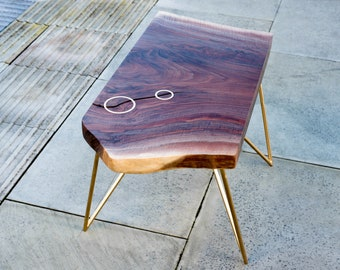 OZARK | Walnut Coffee Table with Brass Detailing on Needle Point Hairpin Legs