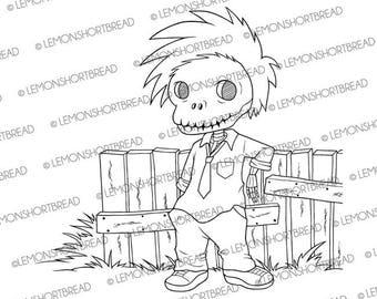 Digital Stamp Skull Guy, Digi Download Skeleton Punk, Goth, Halloween Horror, Scrapbooking Supplies, Clip Art, Graphic, Coloring Page