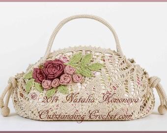 Crochet Purse PATTERN - Tea Rose Handbag - Doily Purse with Flowers and Leaves Irish Crochet Motifs Embellishment - PDF