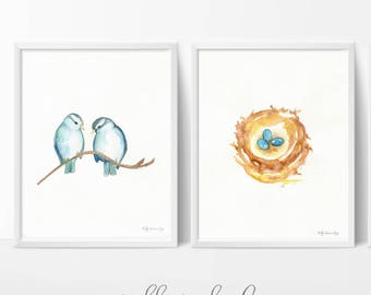 Blue Sparrows and Nest, Nest with 3 blue eggs, Watercolor Prints, 2 for 37.00, Mother's Day Gift Sale