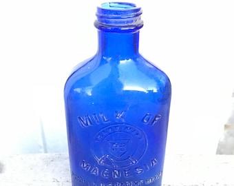 Dark Blue Milk of Magnesia Glass Bottle Pat Date Aug 21st 1906