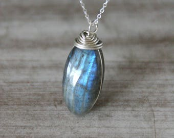 Labradorite Necklace,Blue Labradorite Pendant,Silver Labradorite Jewelry,Boho Necklace,Gift For Her,Labradorite,Delicate Necklace,Positiva