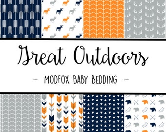 Great Outdoors Baby Bedding - Woodland Animal Bedding - Woodland Crib Sheet - Navy Crib Sheet  Orange Crib Sheet - Crib Bedding-Crib Blanket