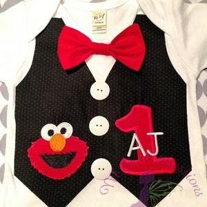 Red Monster Applique Bow-tie Vest Bodysuit, Elmo Birthday Shirt, Elmo Applique, Sesame Street Inspired bodysuit, Shirt, Elmo Birthday Party