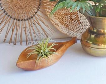 LEAF shaped WOODEN Bowl - TIKI retro home decor, boho home decor, bowl for crystals, key bowl, trinket bowl