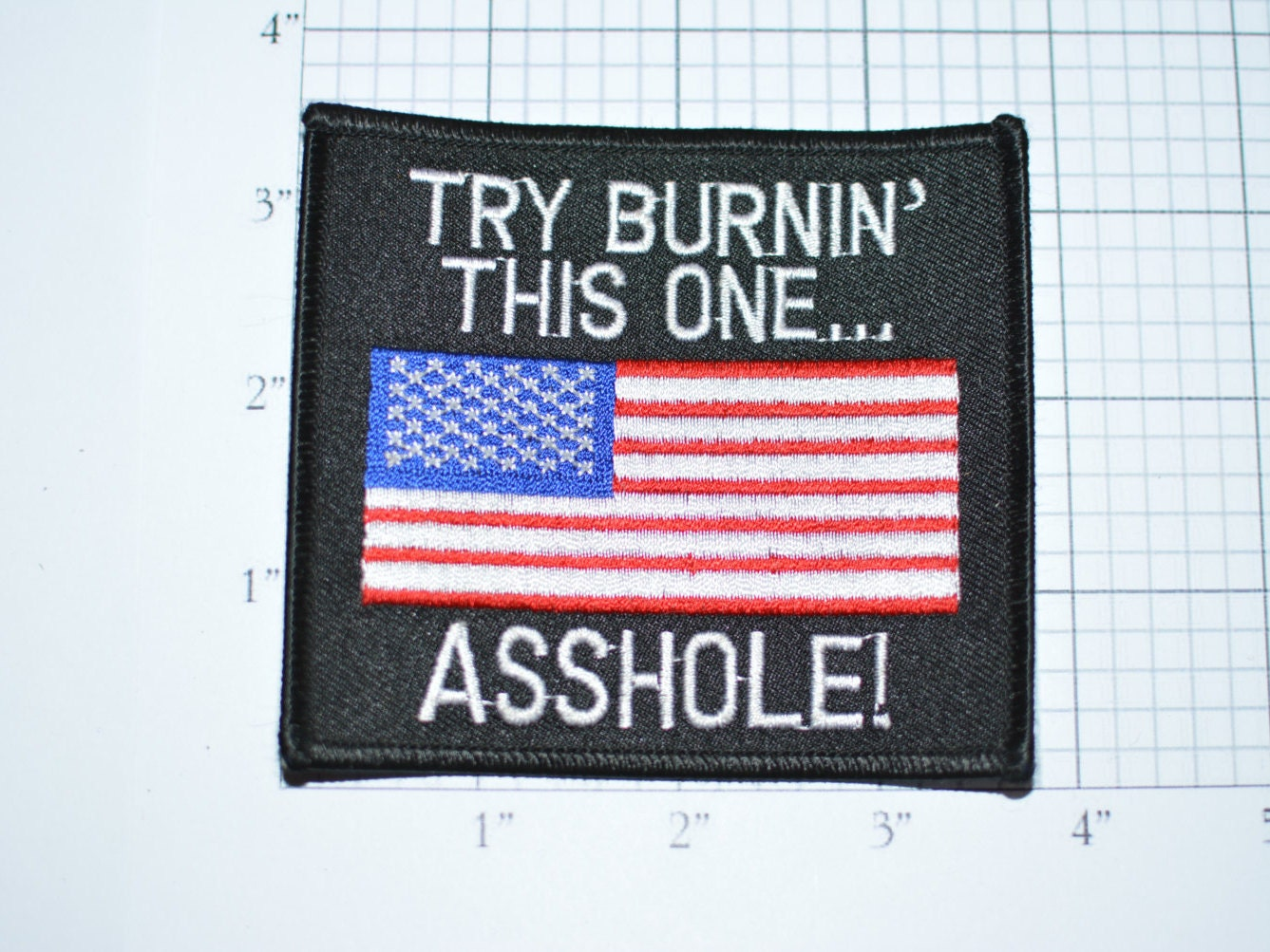 try burning this one asshole iron-on patch - accessory gift for