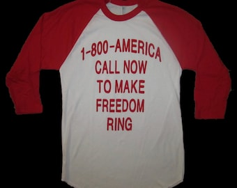 1 800 america call now to make freedom ring raglan sleeve USA star shirt tee 3/4  funny red white and blue merica murica baseball style cute