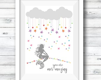 Mermaid Print, Mermazing, Personalised Mermaid, Room Decor, Rainbow Stars, Gift for Her, Nursery Print, Mermaid, Children's Room, Nursery