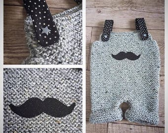 Overalls jumpsuit in black grey and black mustache with suspenders with stars