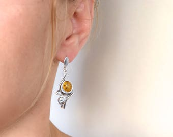 Earrings 925 silver with amber, for women