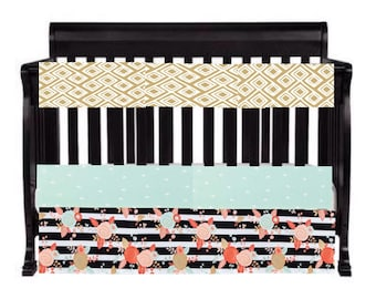 Custom Baby Girl Baby Bedding in black, gold, mint and pink