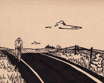 "Midwest Bicyclist - 8""x6"" - Original Illustration"