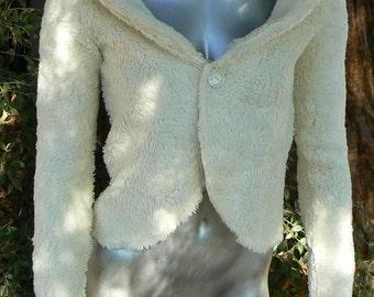 Handmade Cream Fuzzy Cardigan - in 3 sizes