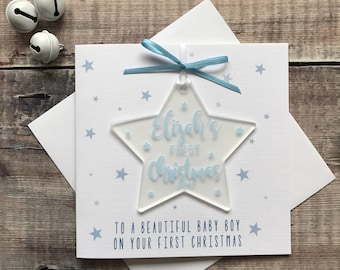 Baby's First Christmas Card & Acrylic / Perspex Tree Decoration Ornament Baby Boy