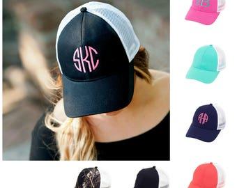 Mongram trucker hat, monogram hat, beach hat, boat hat, monogram hats, monogram bridal, bridal party, bachlorette weekend, personalized hat