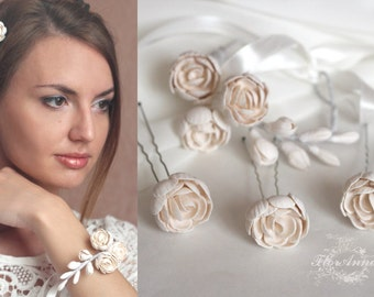 ivory jewelry, flower set, wedding stuff, flower hairpin, flower bracelet, bridesmaids jewellery, ivory peony, ivory corsage, bride