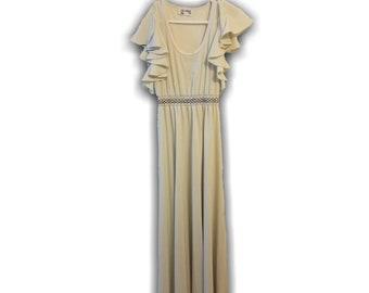 Vintage 1970s Trolley Car Dress - Trolley Car Pinup Gray Dress Maxi Dresses - Vintage Sleeveless Dress