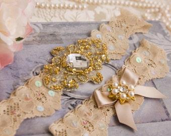 Gold Wedding Garter Set, Gold Bridal Garter Set, Champagne Lace Garter, Lace Wedding Garter, Golden Garter Set, Personalized Garter