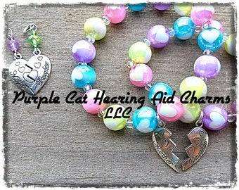 Perlen Armband: Antik Silber Mutter-Tochter verbunden Herz Set! Passende Hörgeräte Anhänger und Ohrringe als set Preis!