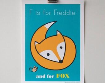 Child's Room Decor Personalised Animal Alphabet Print