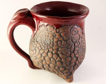 Dark Red Doily Mug